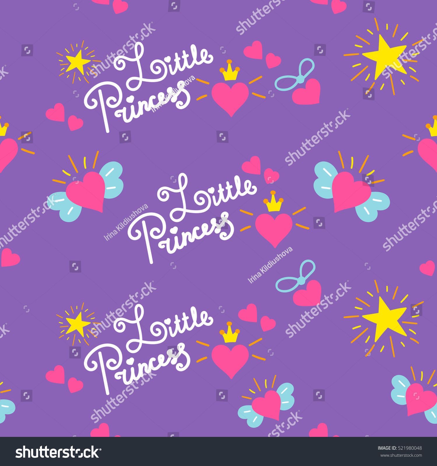 Little Princess Pattern Vector Sweet Girl Stock Vector