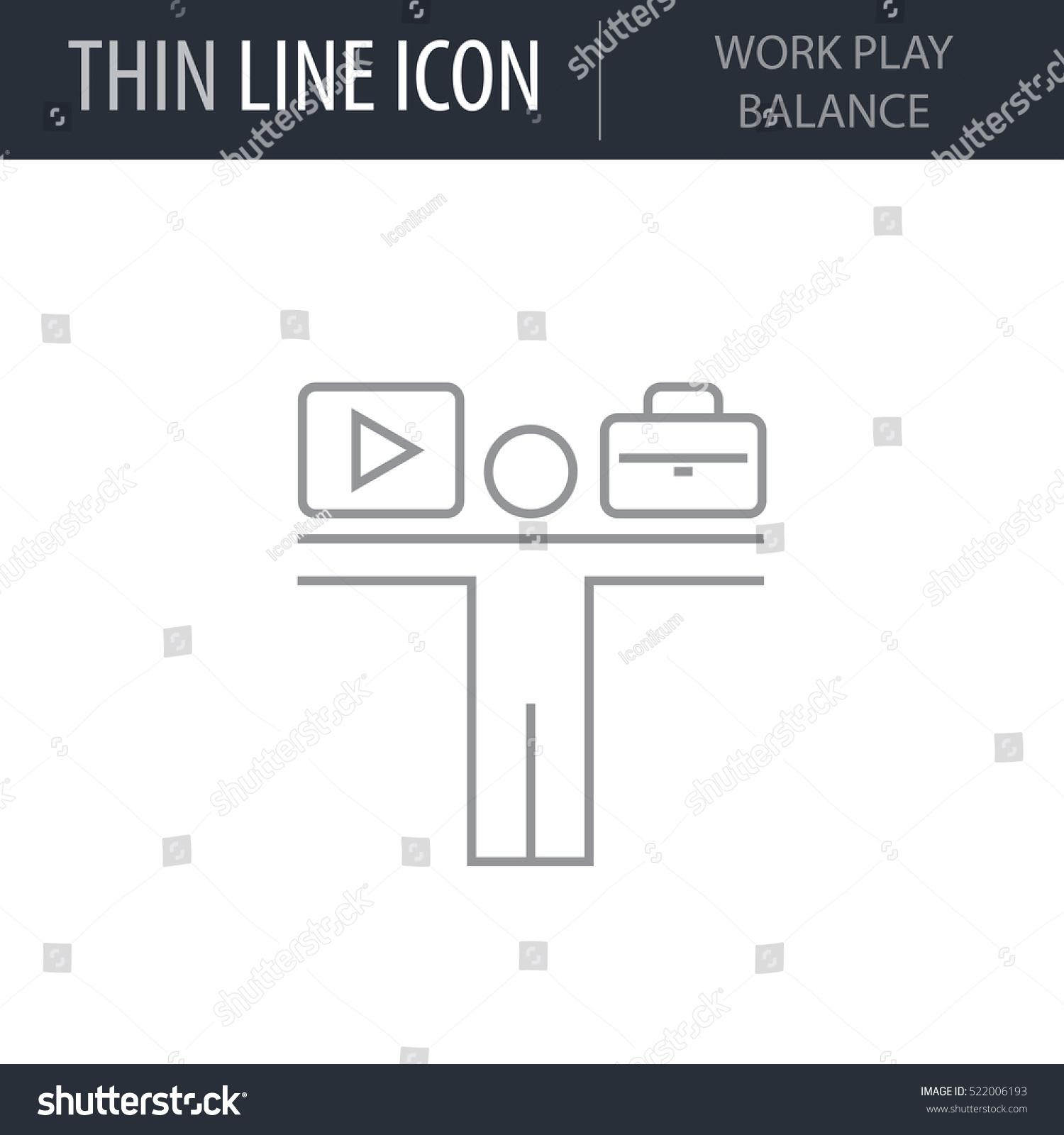 Symbol Work Play Balance Thin Line Stock Vector Royalty Free