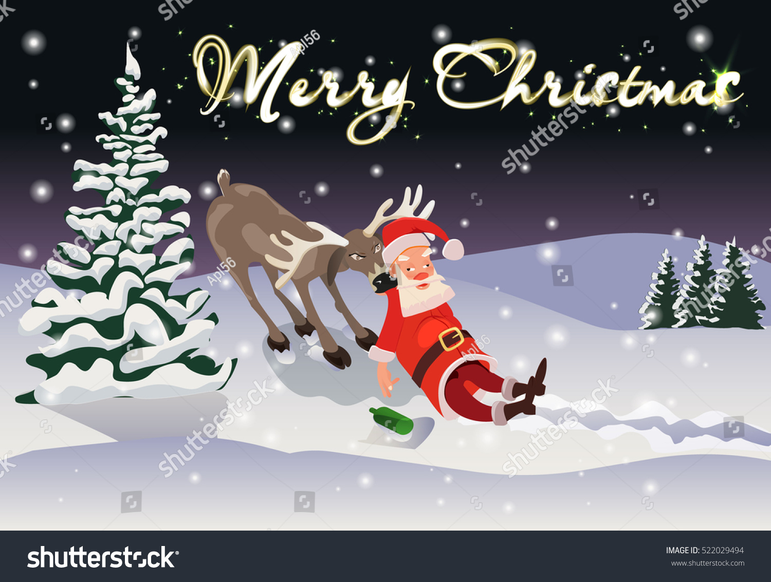 merry postcard merry christmas with a drunk santa claus and reindeer - Drunk Christmas