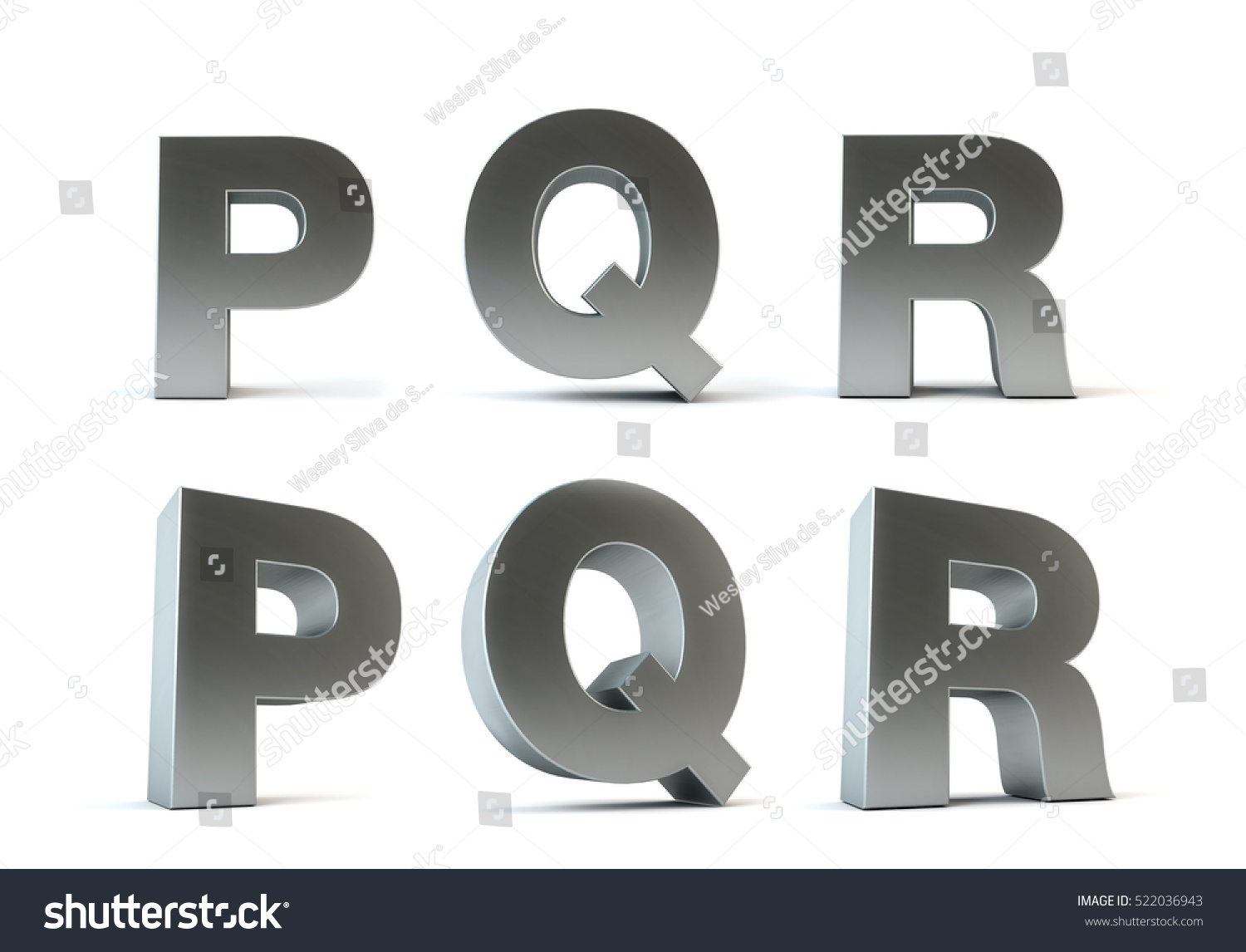 Metal Letters isolated on white background - 3D render - PATH SAVE (Letters  P,