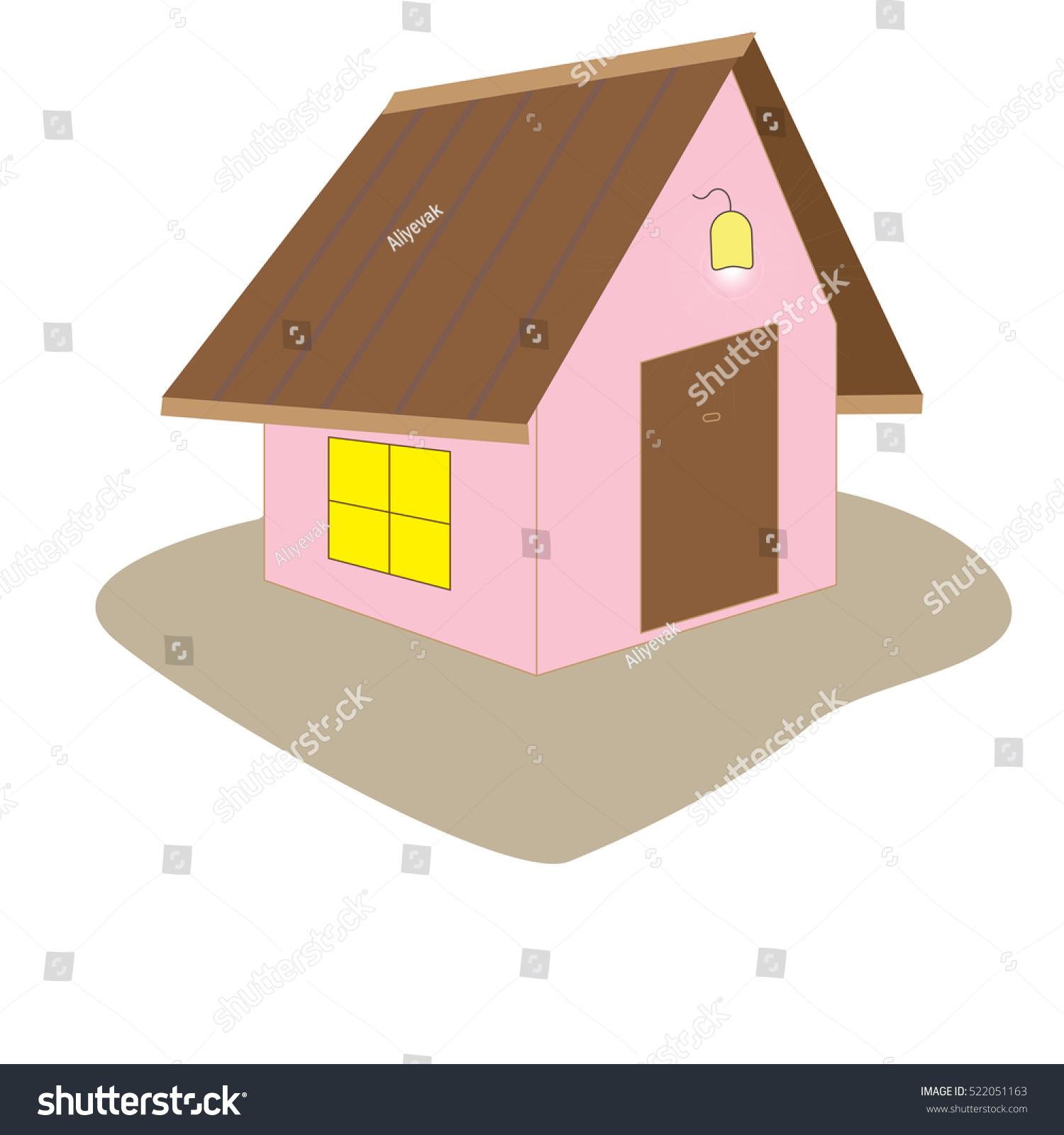 House Cartoon Window Door Roof Pink Stock Illustration 522051163 ...