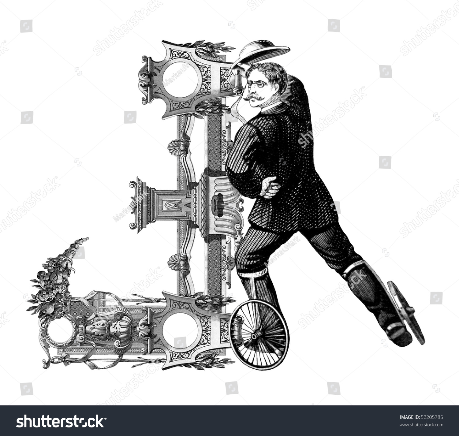 Luxuriously Illustrated Old Capital Letter J Stock Illustration