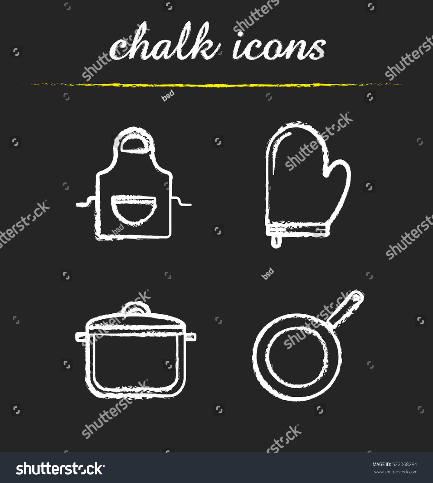 Set Of Black Kitchen Icons Utensils Stock Vector: Kitchen Tools Chalk Icons Set Kitchenware Stock Vector