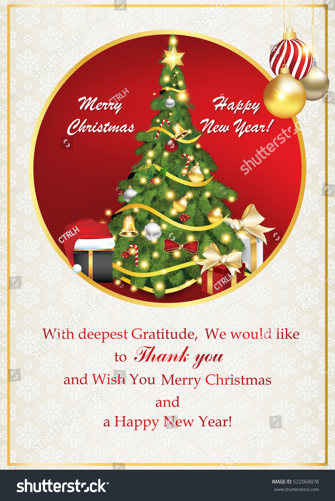 Thank You Business Greeting Card Christmas Stock Illustration ...