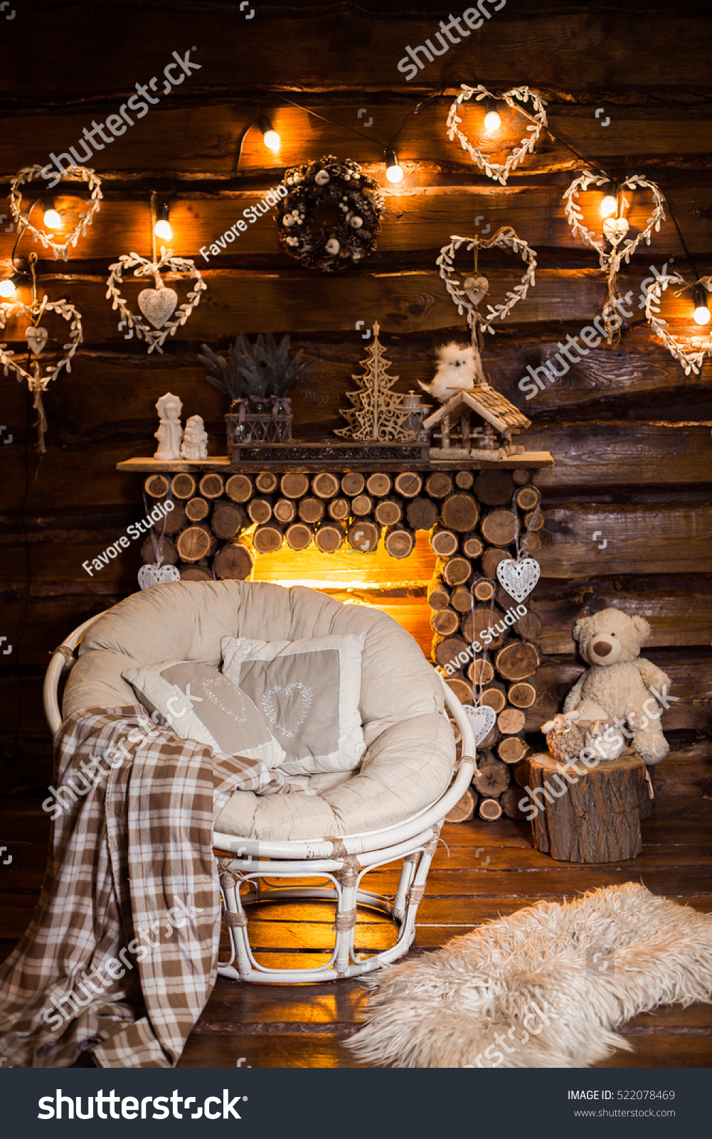Cozy Papasan Chair At The Center Of Wooden Room Evening Bulb Light Garland  Above The Wooden Part 83