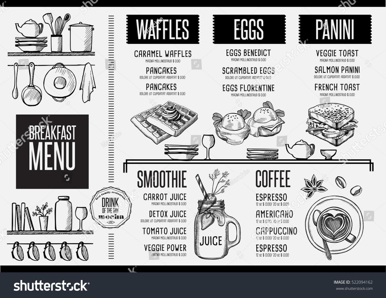 breakfast menu placemat food restaurant brochure のベクター画像素材
