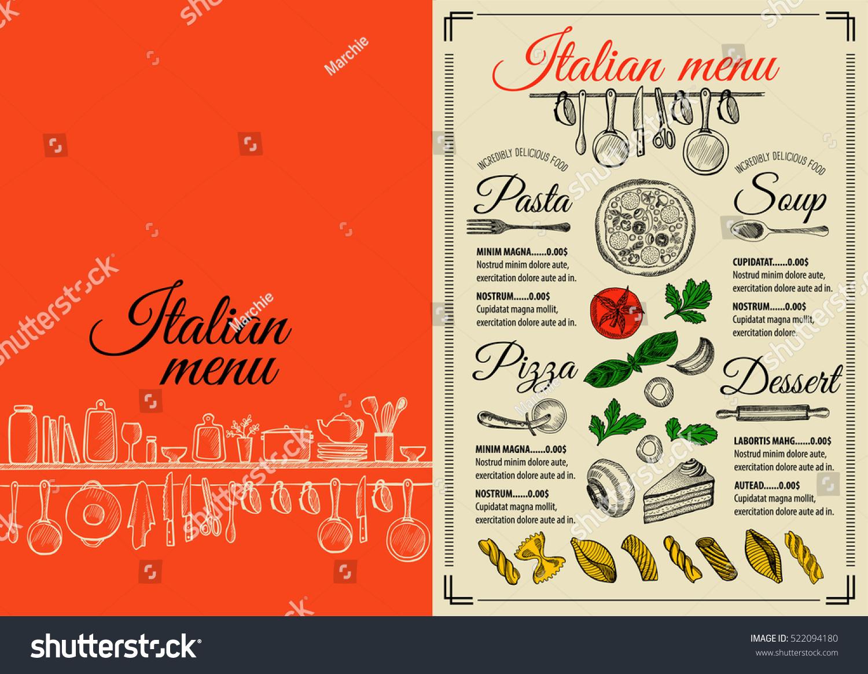 Italian menu placemat food restaurant brochure stock for Menu brochure template