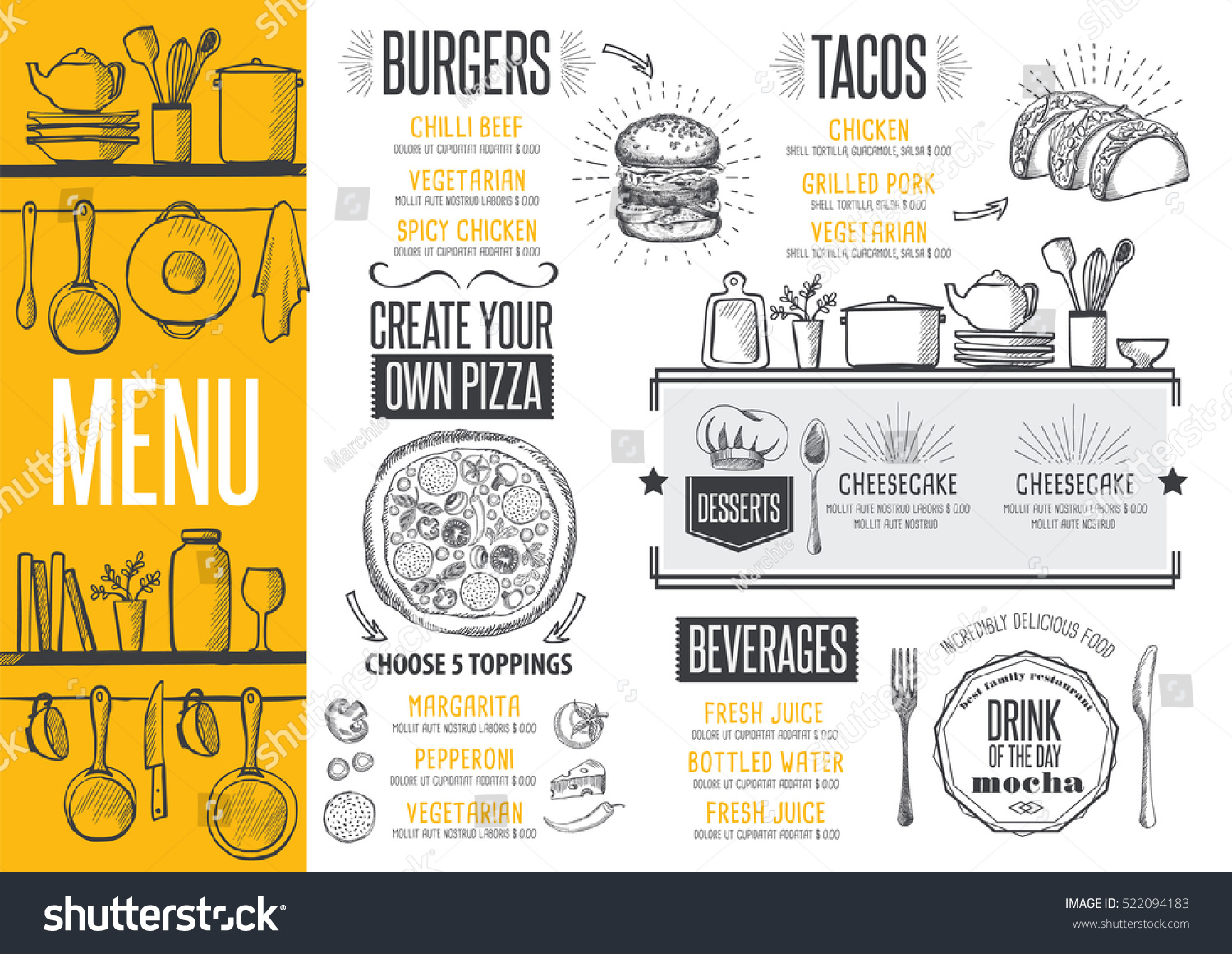 Cafe menu food placemat brochure restaurant stock vector