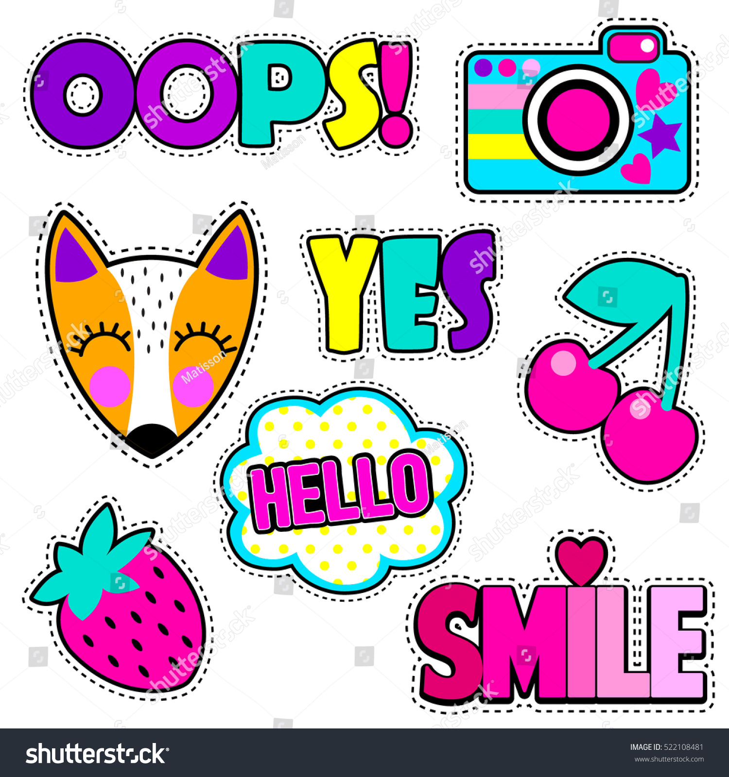 Set Cute Stickers Different Elements Fox Stock Vector