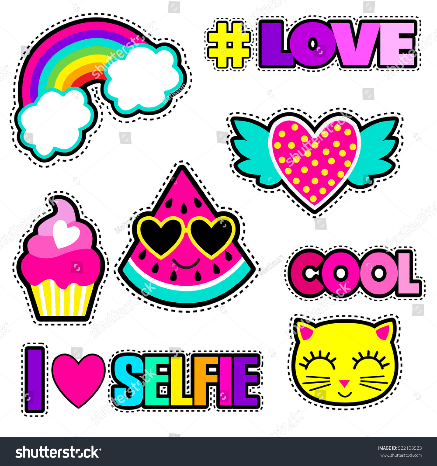 Set Cute Stickers Different Elements Watermelon Stock Vector