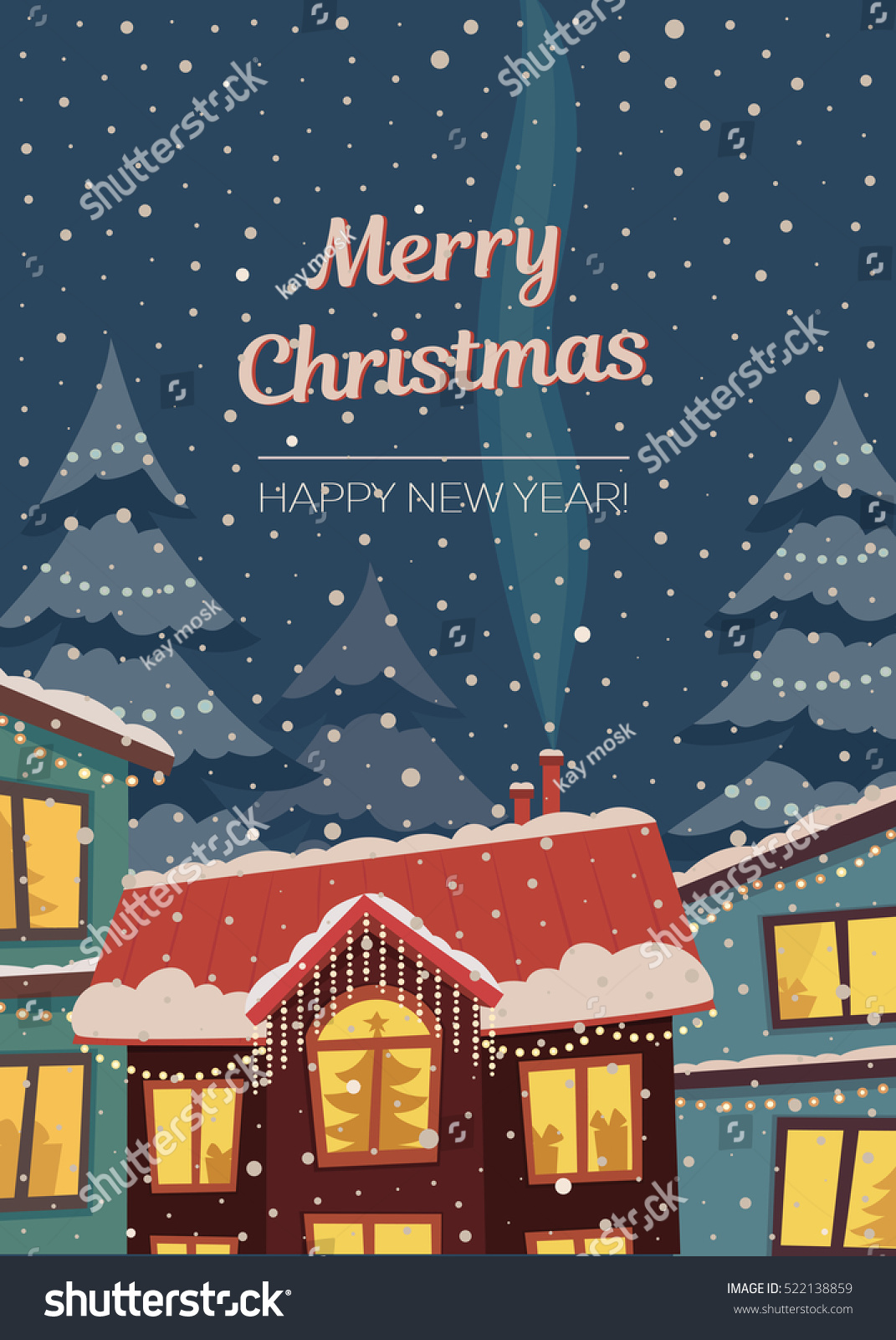 Merry Christmas Vector Vertical Card Subdued Stock Vector (Royalty ...