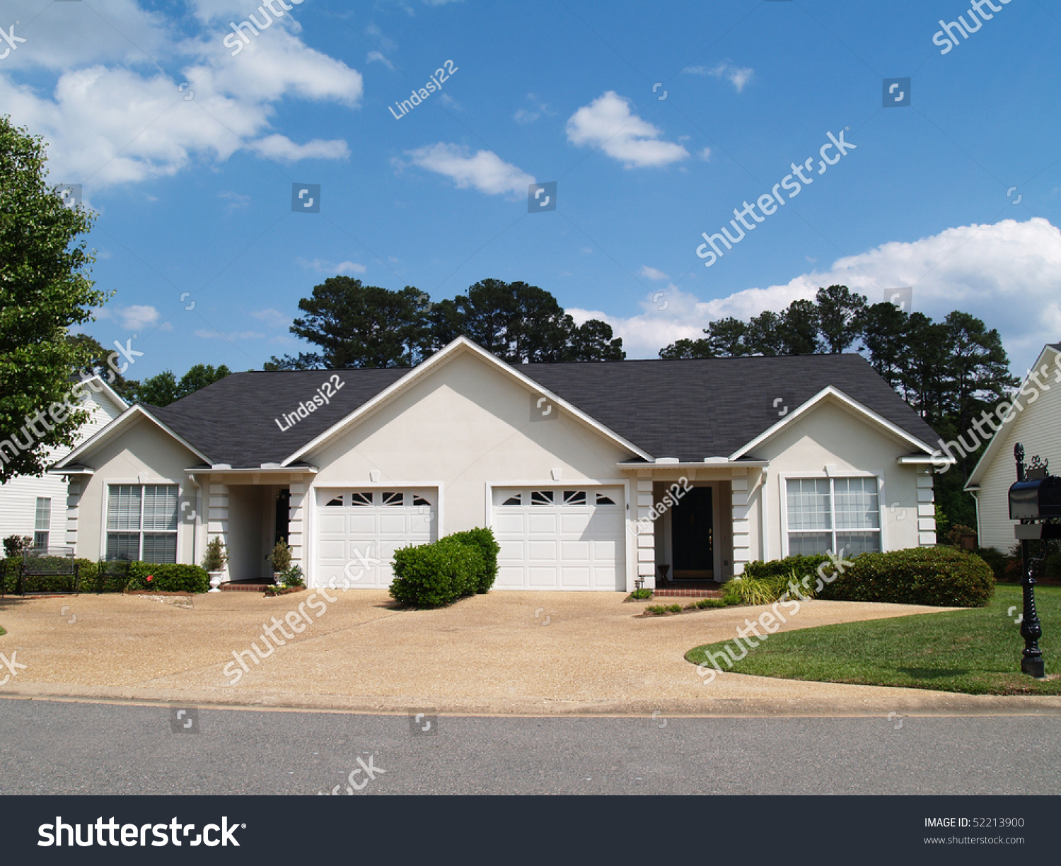 New low income small one story stock photo 52213900 for Single story duplex