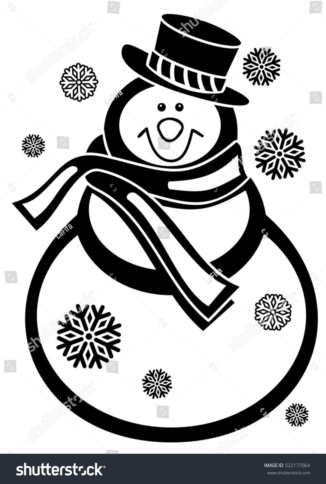 contour snowman snowflakes white background coloring เวกเตอร สต อก