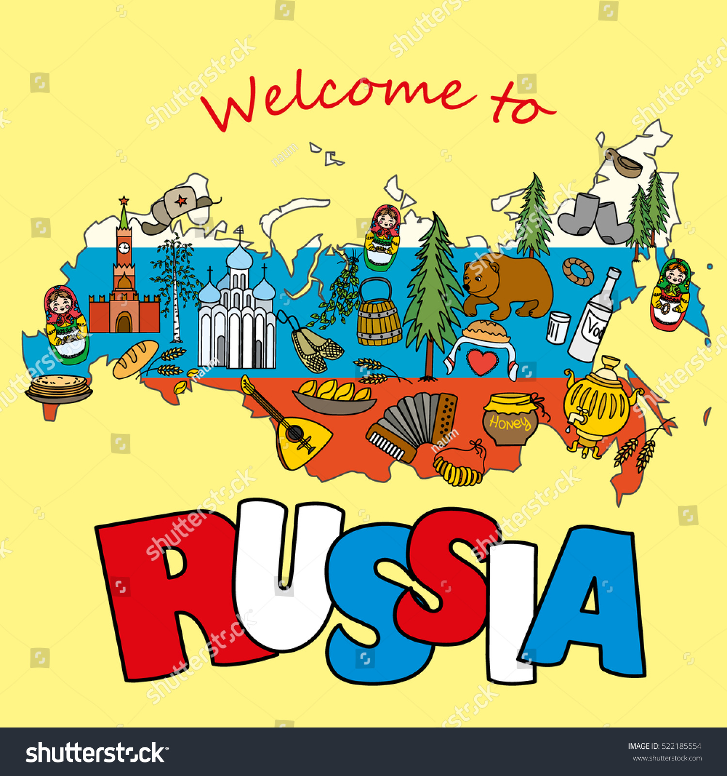 russian travel set traditional national elements stock illustration