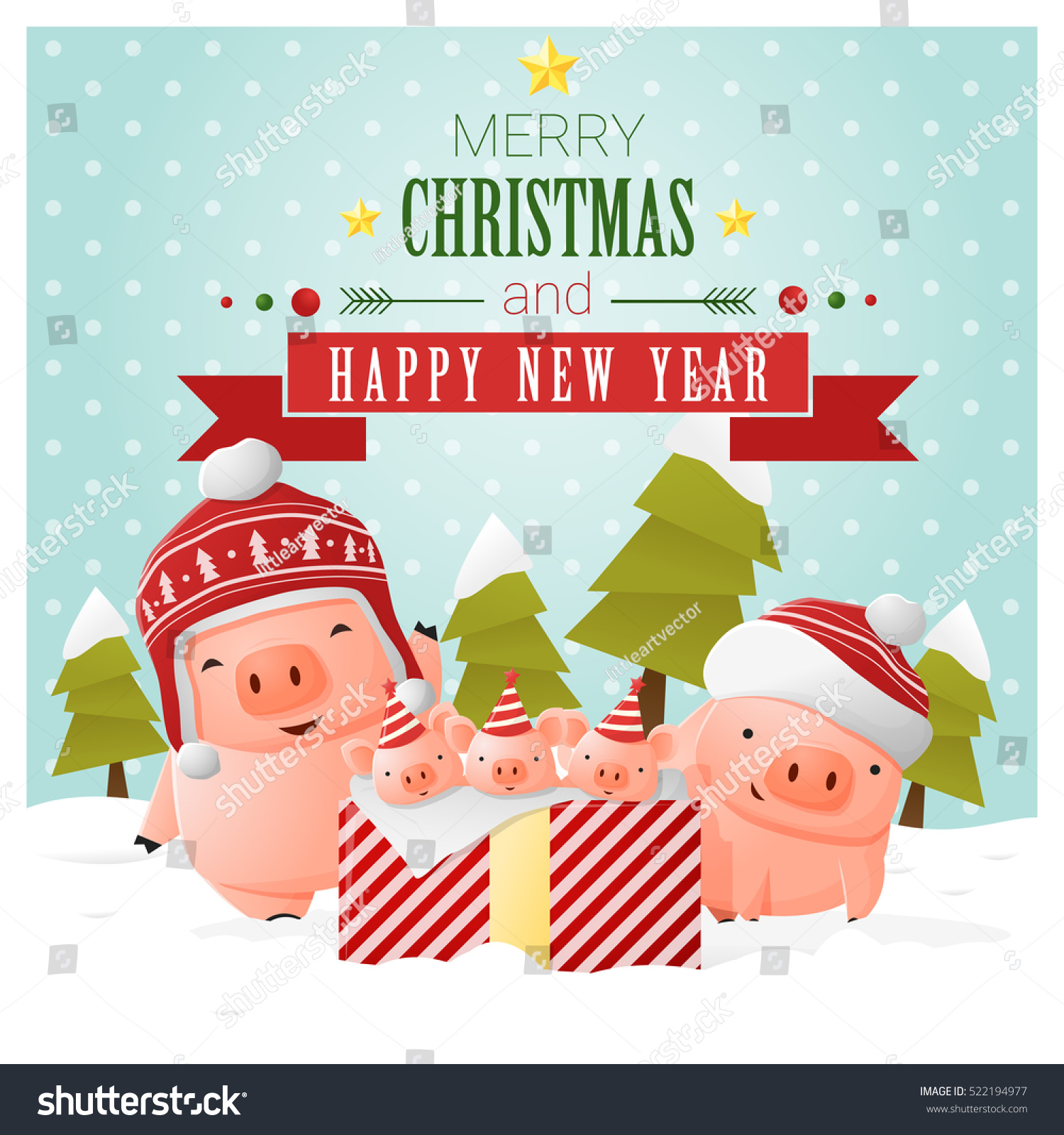 merry christmas and happy new year greeting card with pig family vector illustration