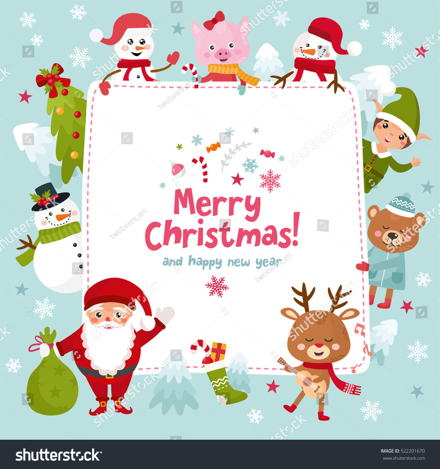 Merry Christmas Greeting Card Happy New Stock Vector Royalty Free