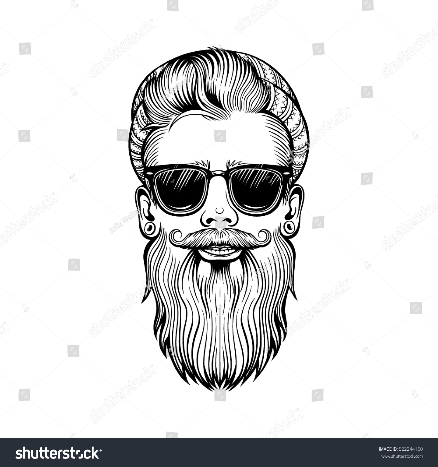 vector black white hipster beard santa stock vector 522244150