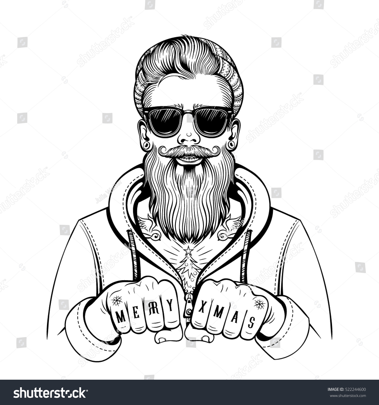 vector black white hipster tattoo santa stock vector 522244600
