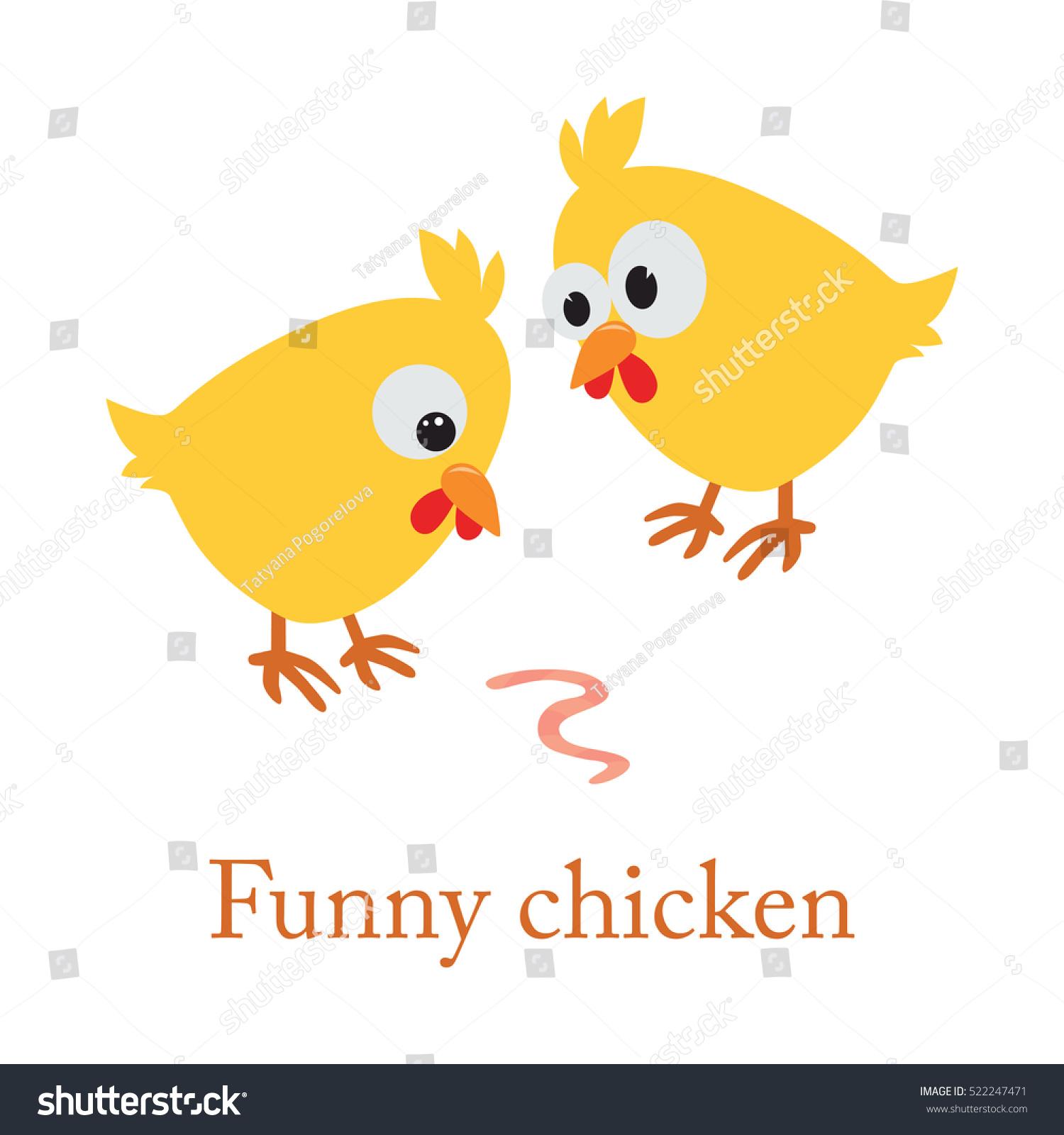 cute cartoon yellow chicken worm vector stock vector
