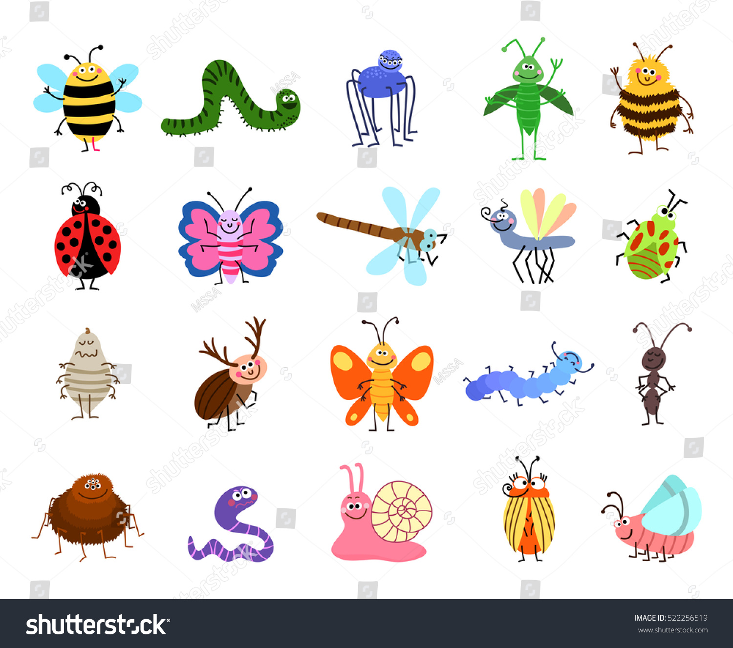 funny bugs vector cute bugs insects stock vector 522256519