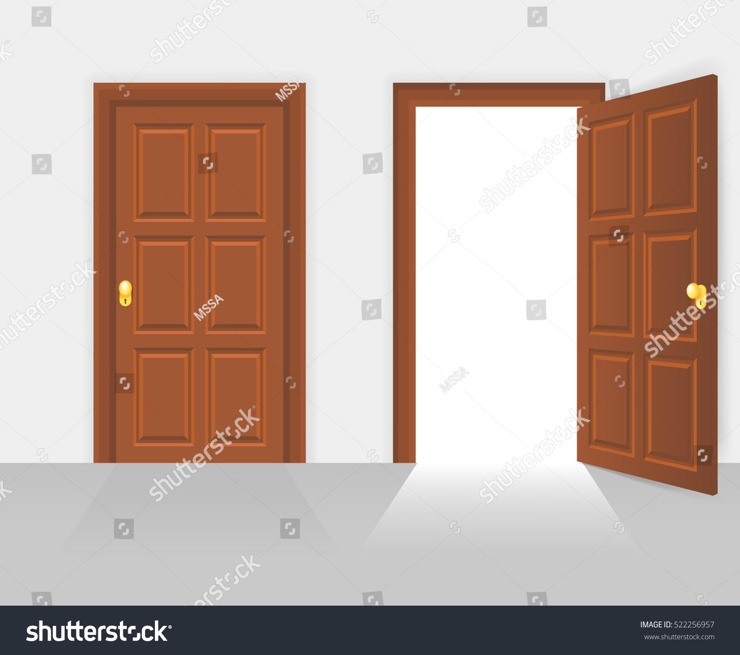 Open door closed door - Open And Closed Door House Front Wooden Open Entry With Shining Light Vector Illustration
