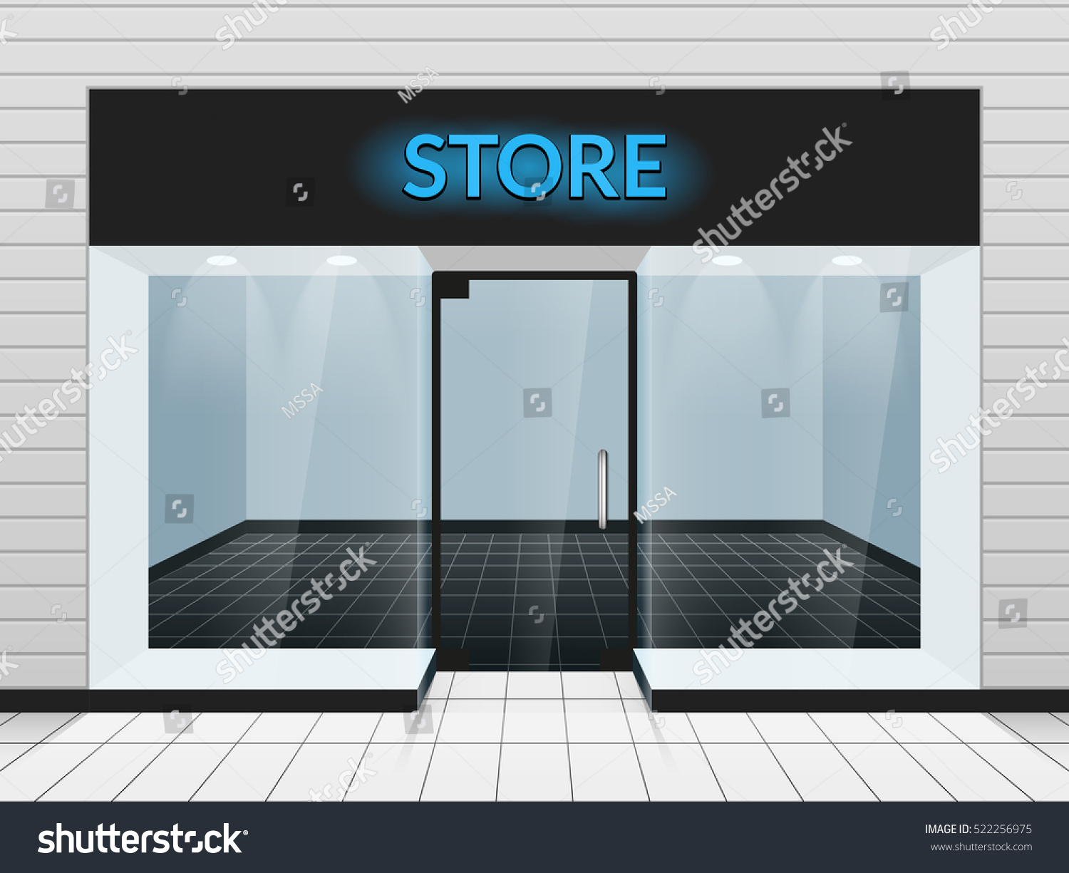 shop front store front view vector stock vector 522256975 shutterstock. Black Bedroom Furniture Sets. Home Design Ideas