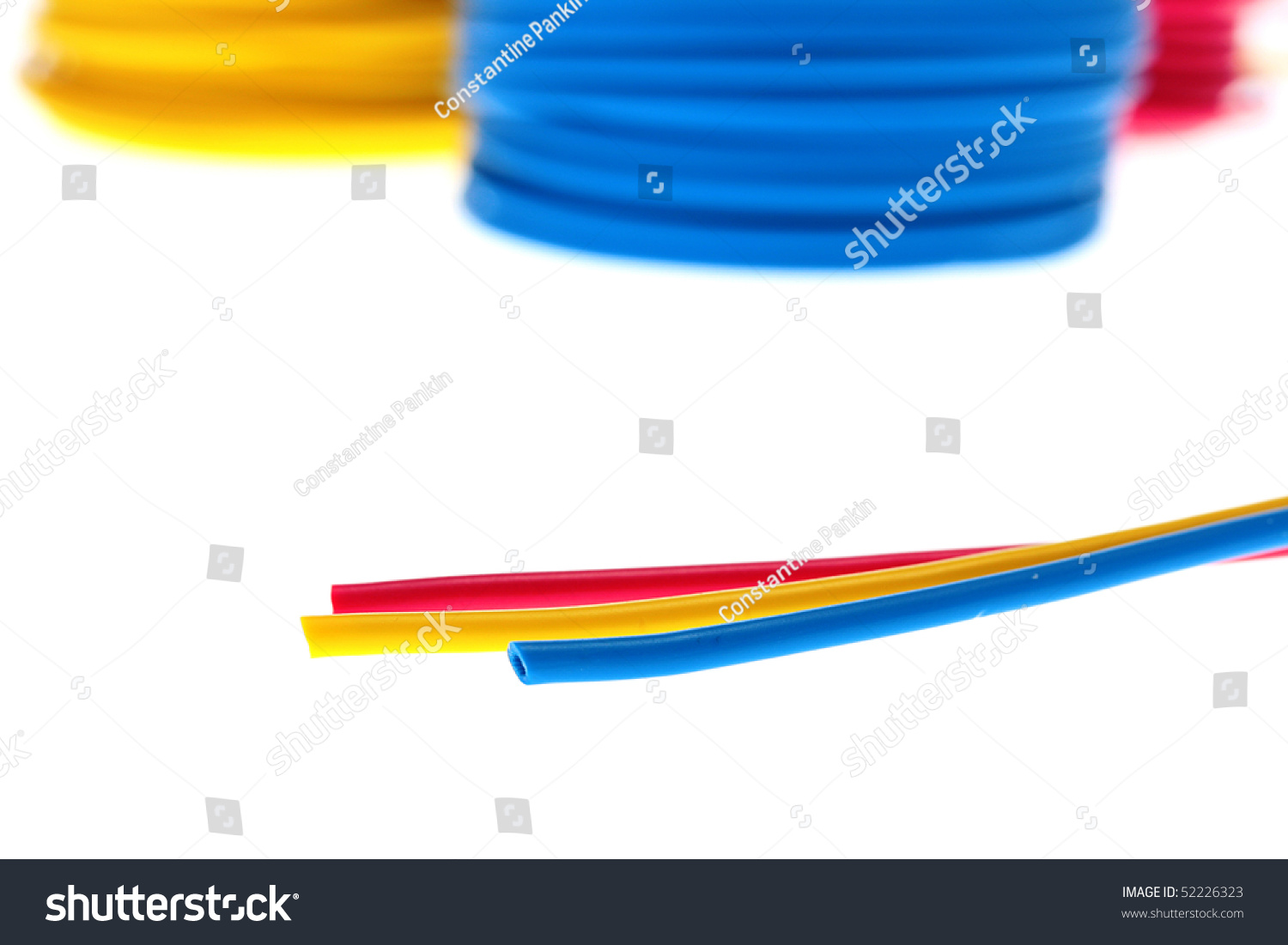 Red Dark Blue Yellow Wires Retinue Stock Photo Edit Now 52226323 Ac Wire Colors Canada And Of In Rings For Storage