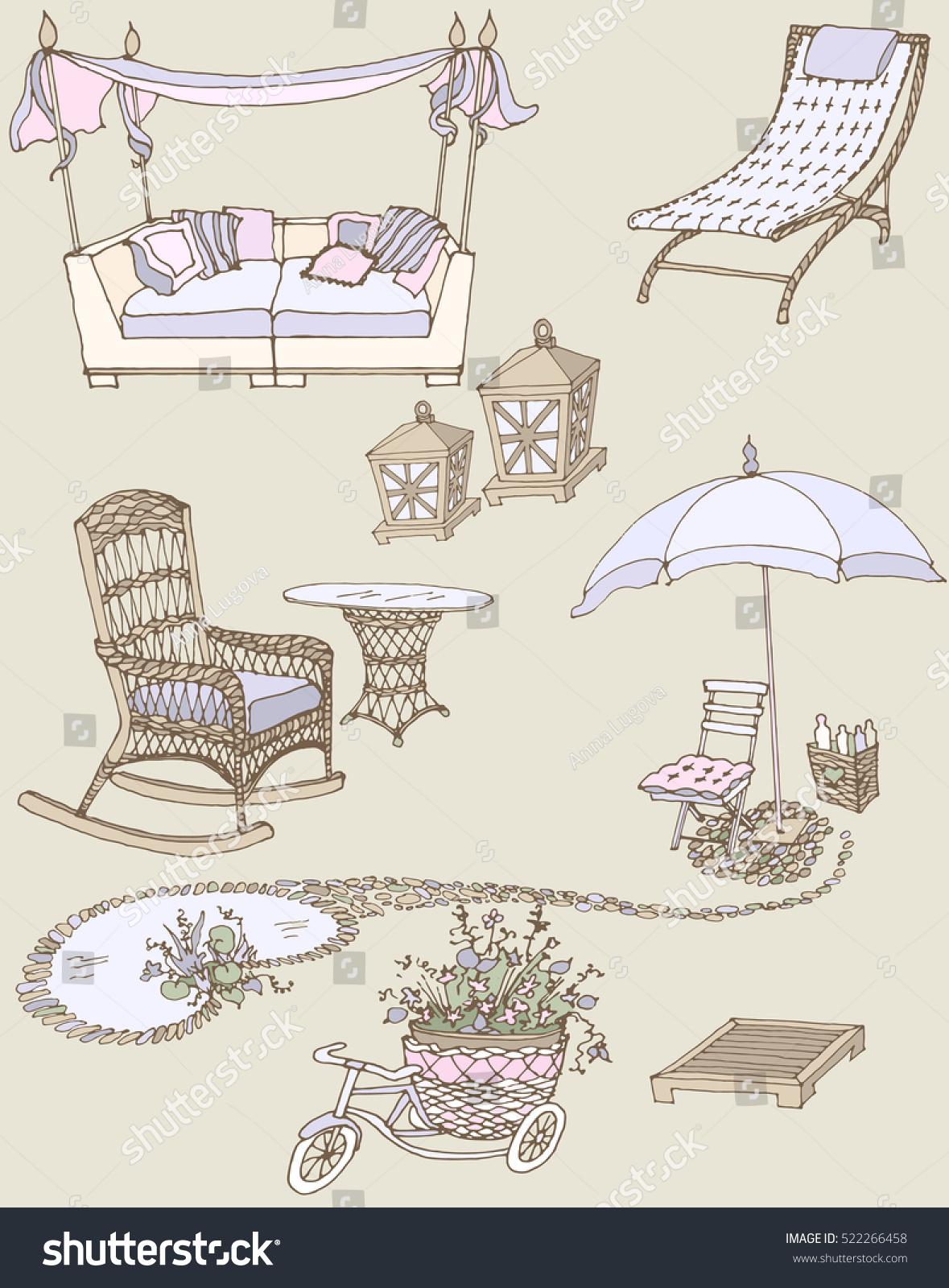 sketch set furniture decor garden color stock vector 522266458