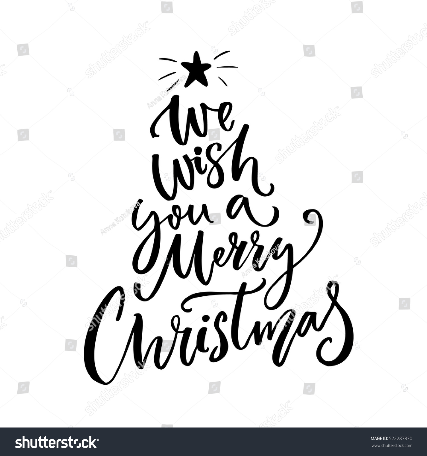 We Wish You Merry Christmas Typography Stock Vector (Royalty Free ...