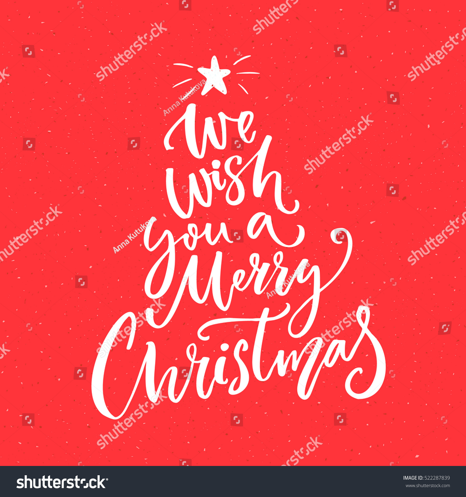 We wish you merry christmas text stock vector 522287839 shutterstock we wish you a merry christmas text calligraphy text for greeting cards on red background kristyandbryce Gallery