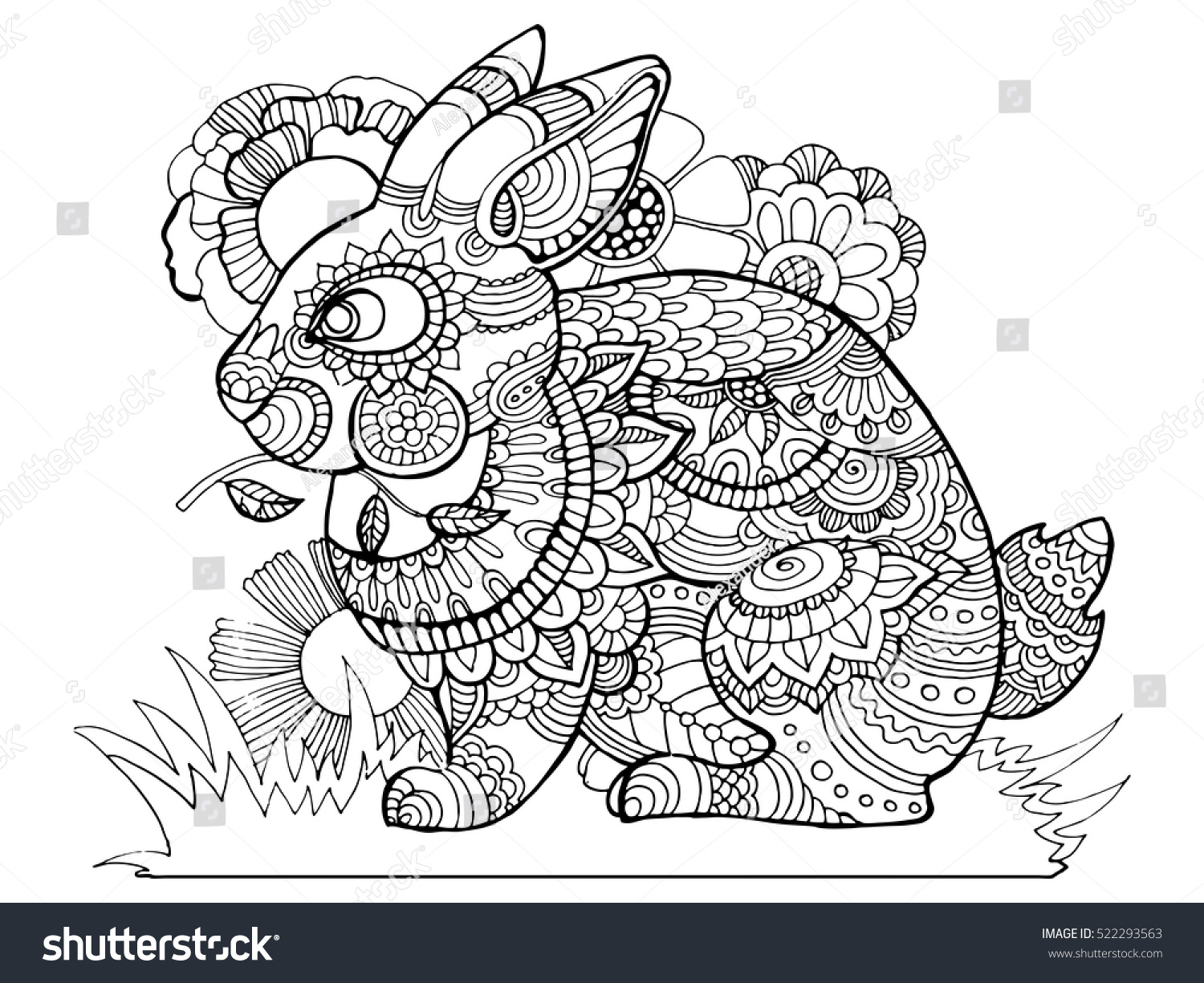 coloring book rabbit pictures : Rabbit Bunny Coloring Book For Adults Vector Illustration Anti Stress Coloring For Adult