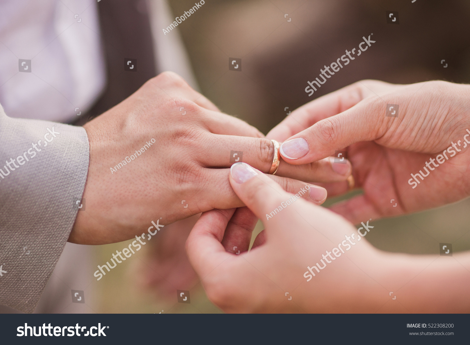 Closeup Bride Putting Gold Wedding Ring Stock Photo (Royalty Free ...