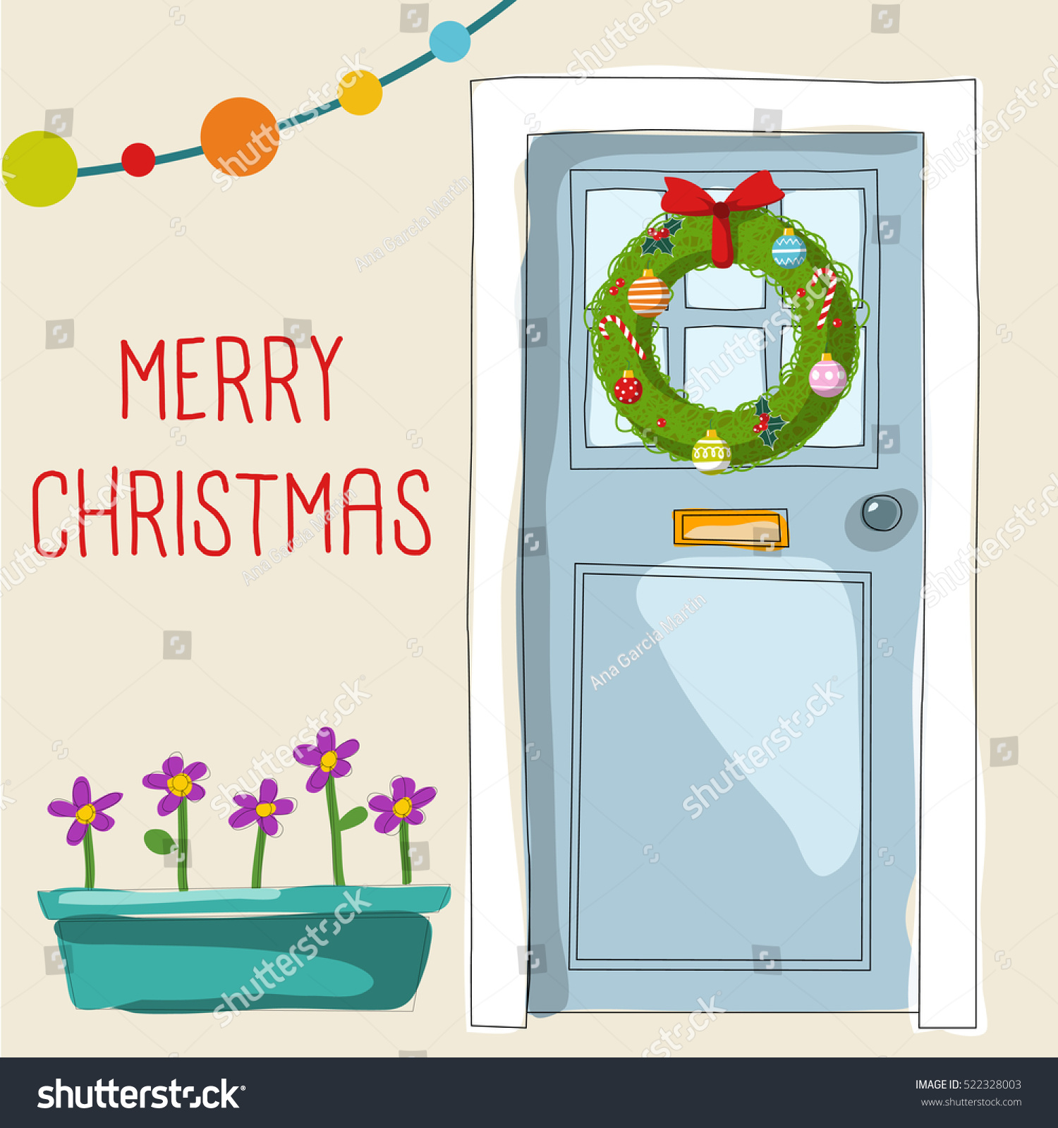christmas front door clipart. Blue Front Door, A Holiday Wreath With Christmas Balls And Lights. Cute Bright Vector Door Clipart D