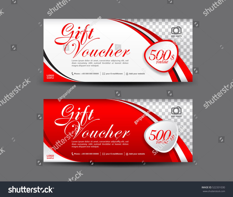 Red Gift Voucher Template Coupon Design Stock-Vektorgrafik 522331030 ...