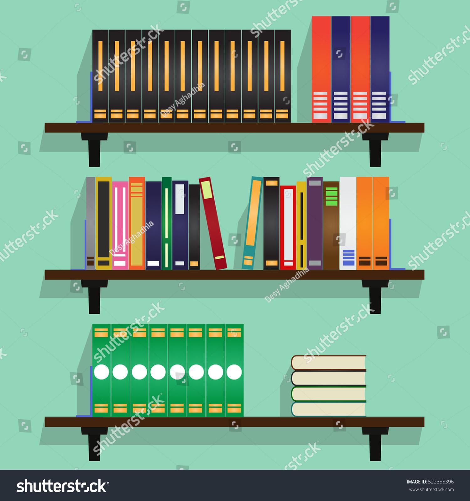 Bookshelf Full Of Books IllustrationFlat Vector Illustration
