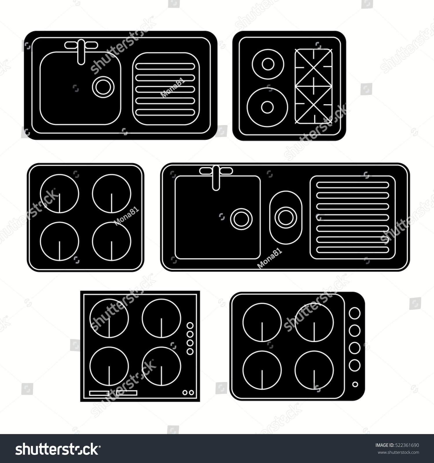 Top View Kitchen Elements Furniture Symbols Stock Vector Hd Royalty