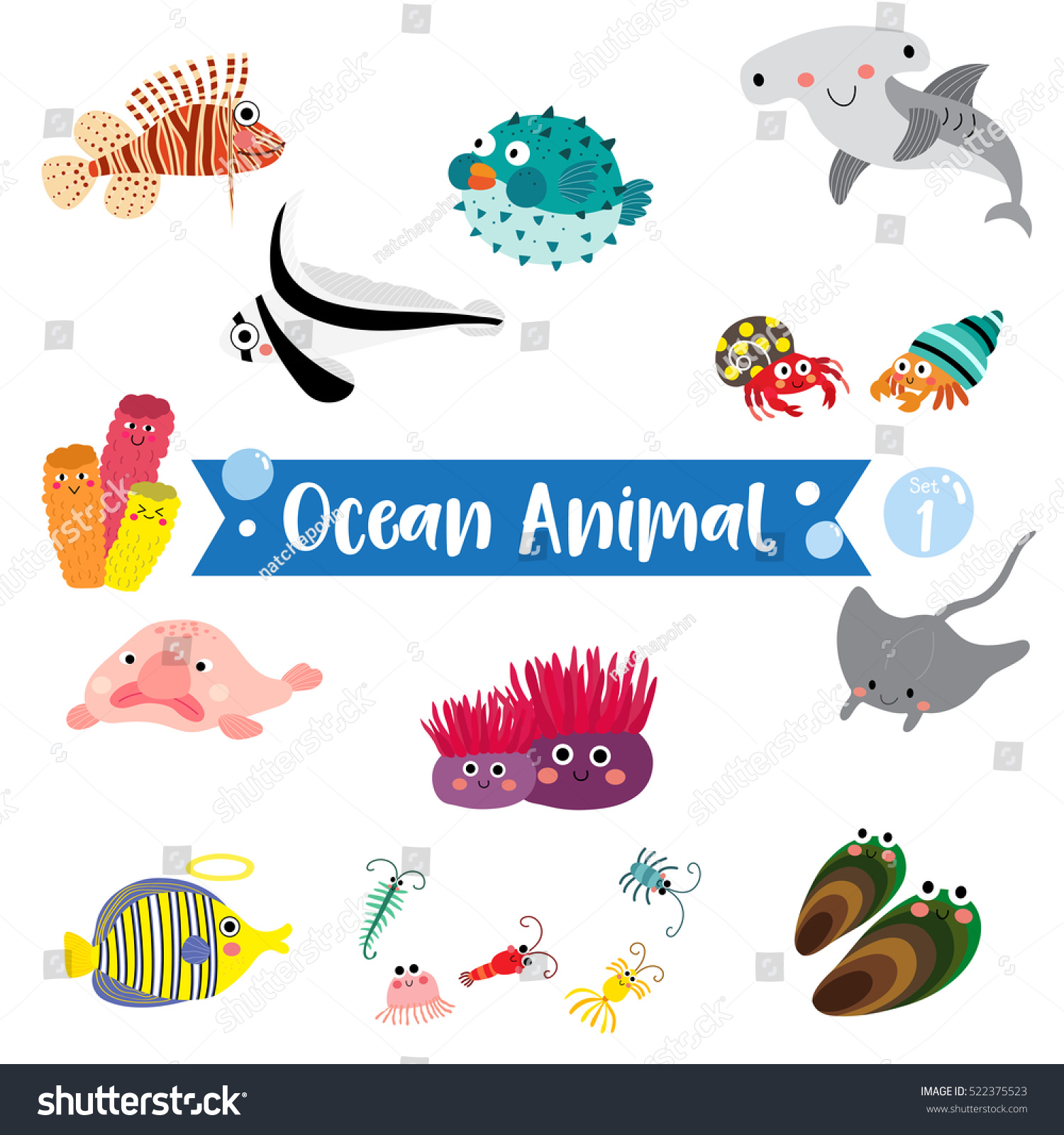 ocean animals cartoon on white background stock vector 522375523