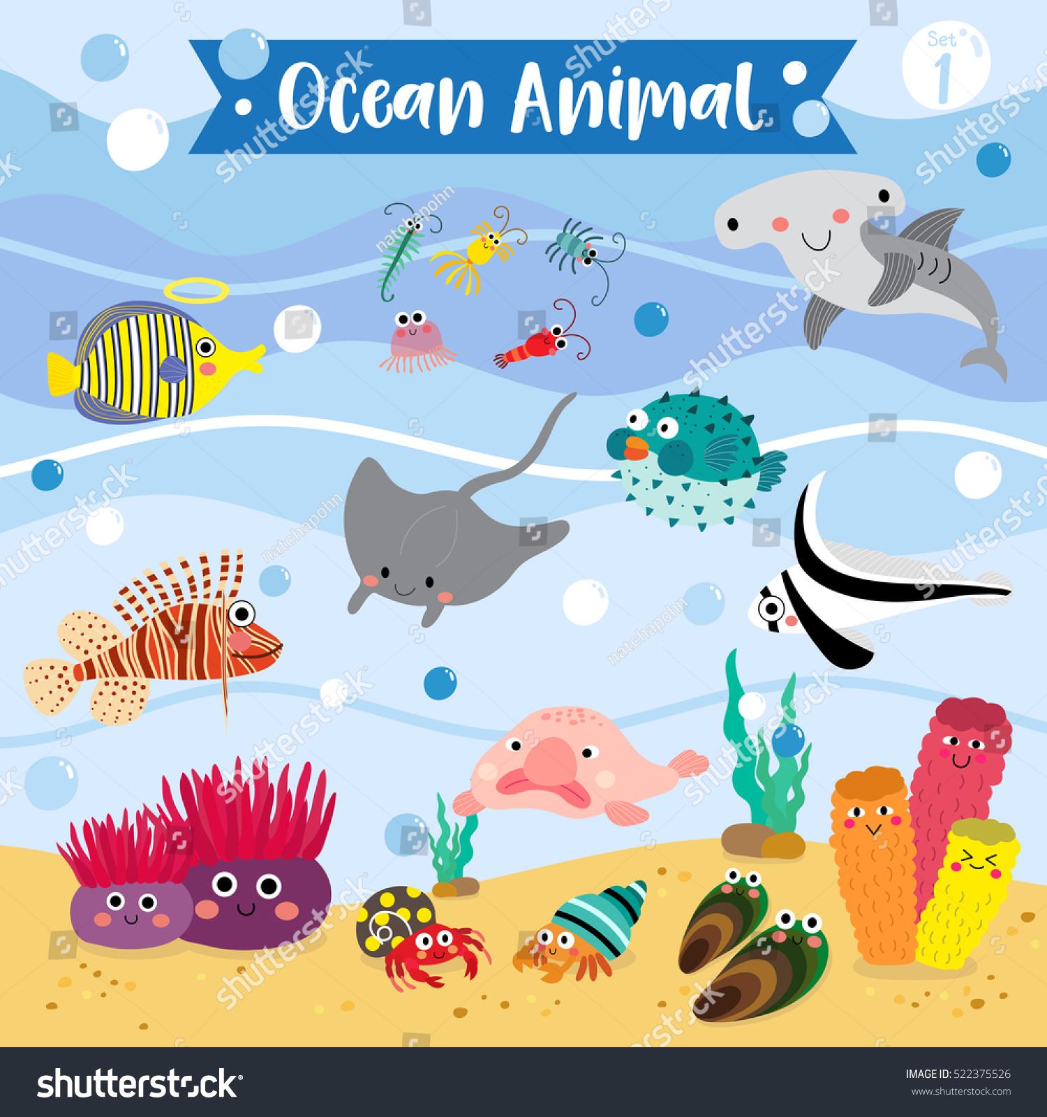 ocean animals cartoon underwater background set stock vector