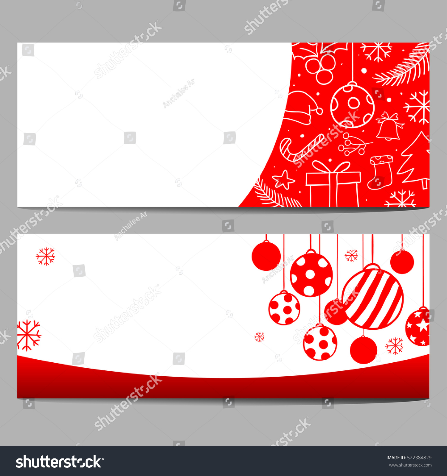 Set Vector Illustration Banner Background Christmas Stock Vector ...