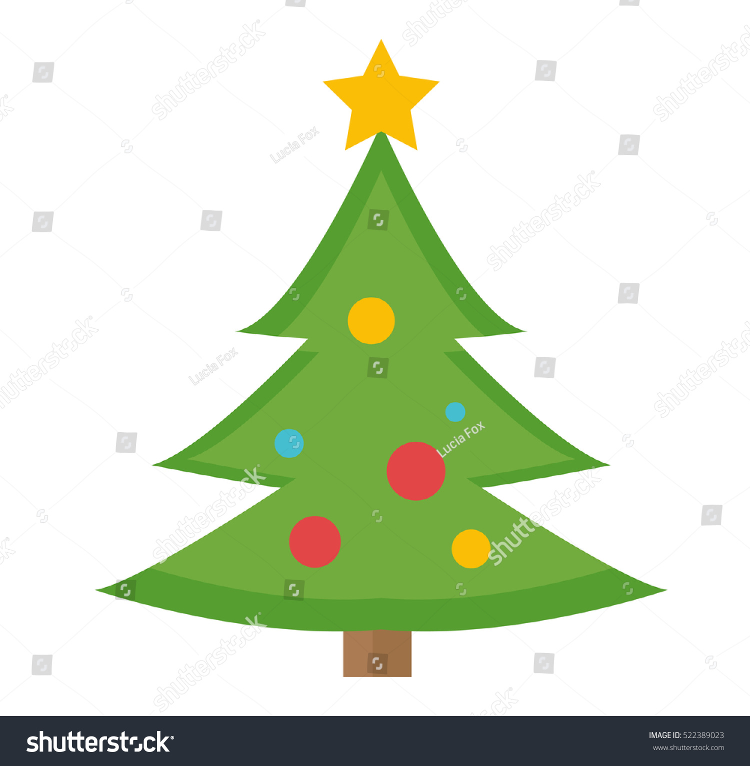 Christmas Tree Vector Icon Isolated On Stock Vector 522389023 ...