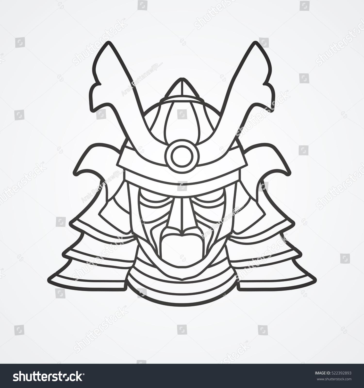Samurai Mask Outline Graphic Vector Stock Vector 522392893 ...