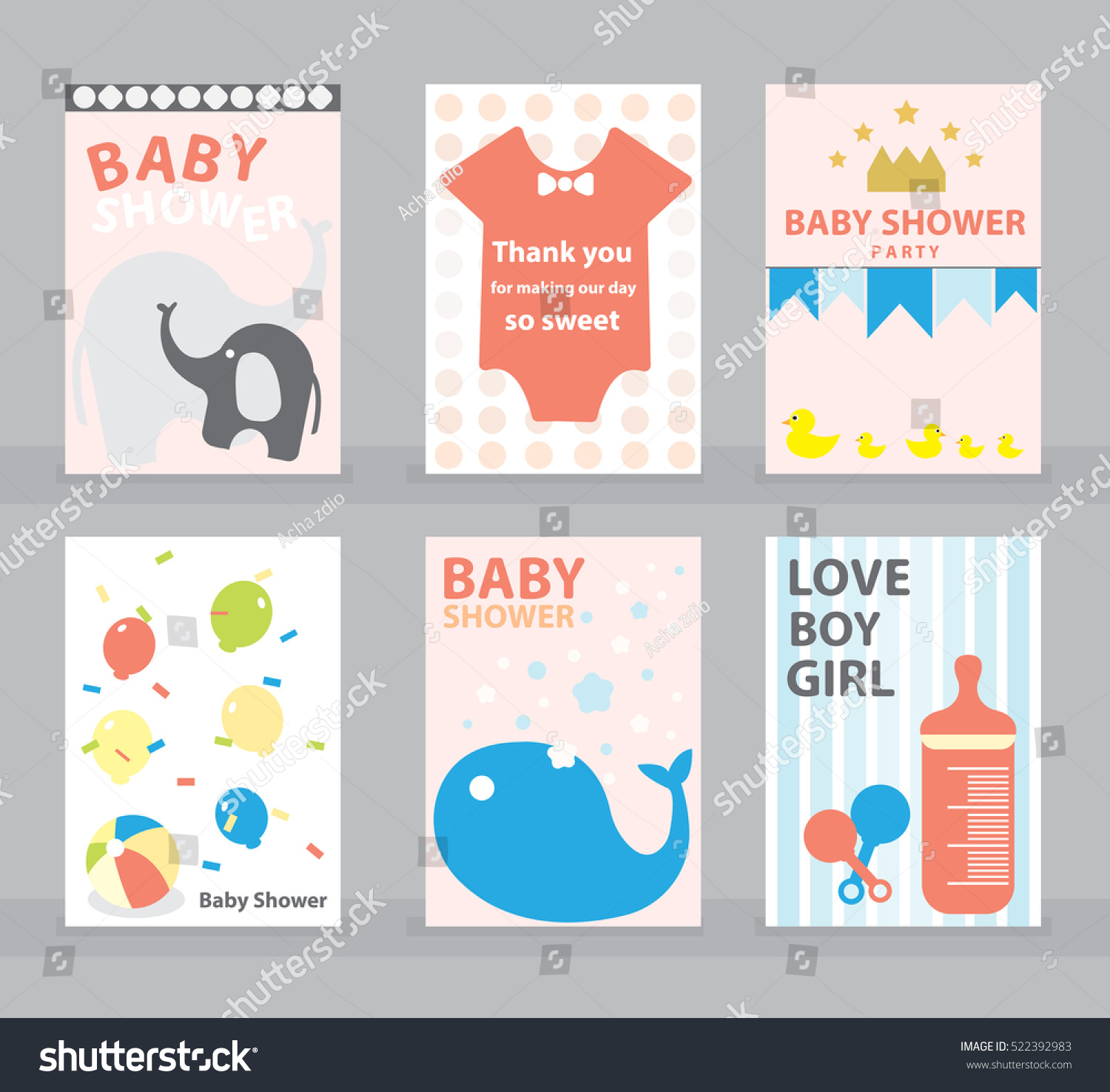 Baby Shower Greeting Card Happy Birthday Stock Vector ...