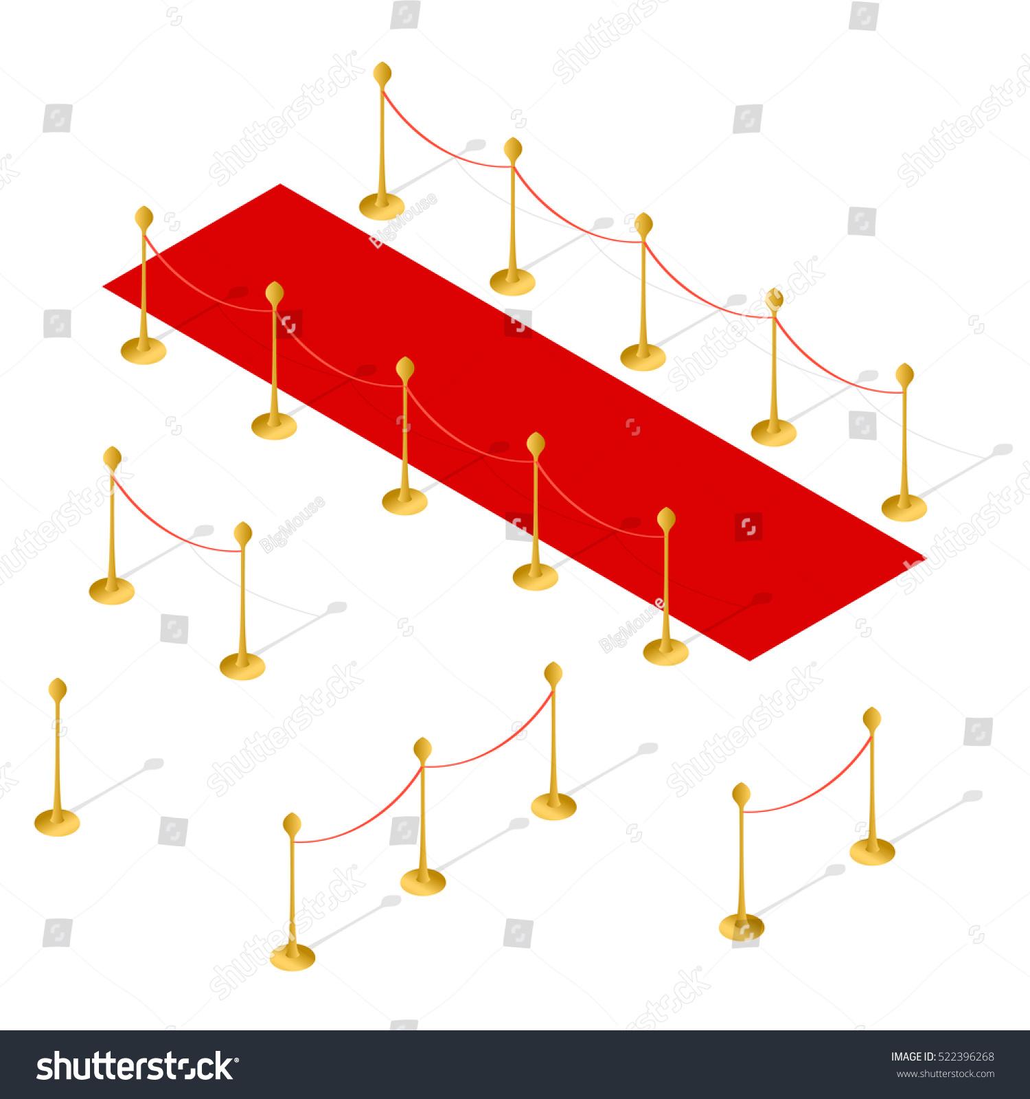 Red Carpet Rope Barrier Set Isometric Stock Vector