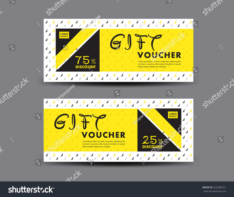 Yellow Discount Voucher Template Coupon Designticket Stock Vector