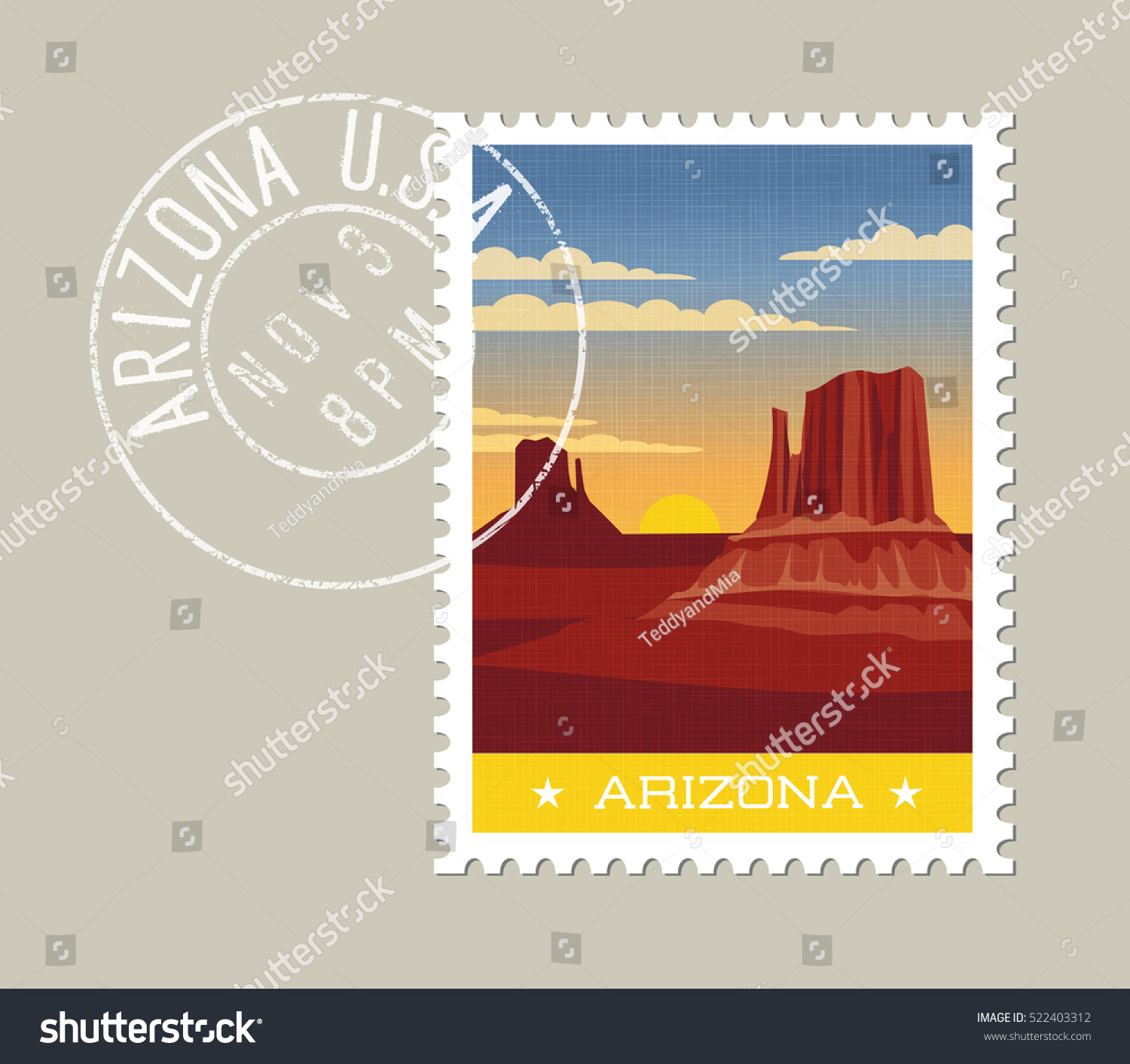 Arizona Postage Stamp Design Detailed Vector Stock Vector 522403312 Shutterstock