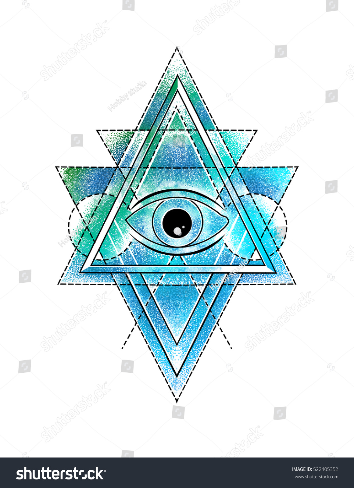 All seeing eye delta triangle symbol stock illustration 522405352 all seeing eye in delta triangle symbol tattoo with a dotted lineillustration biocorpaavc Choice Image