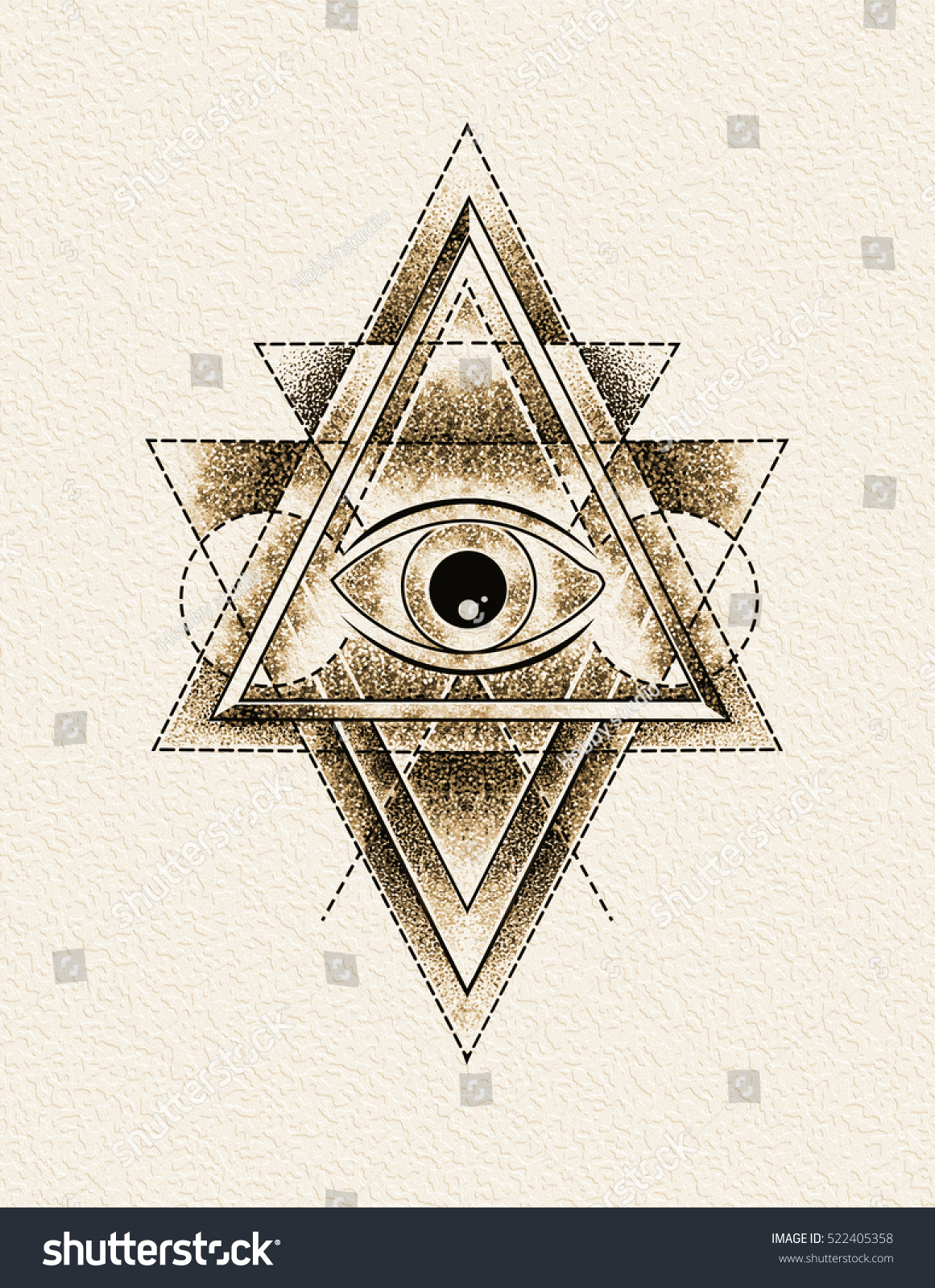 All seeing eye delta triangle symbol stock illustration 522405358 all seeing eye in delta triangle symbol tattoo with a dotted lineillustration biocorpaavc Choice Image
