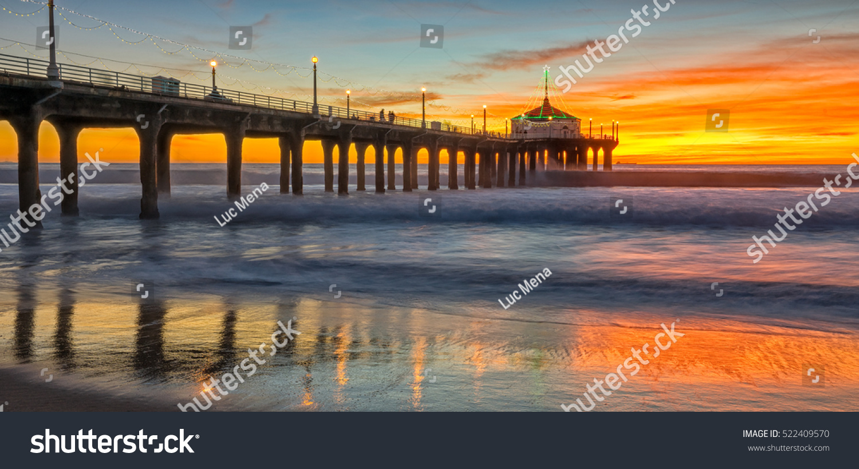 Sun Setting Over Manhattan Beach Pieras Stock Photo Edit Now