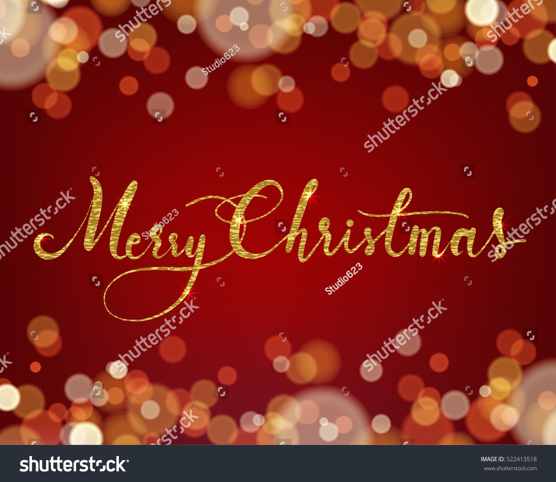 Merry Christmas Wording On Light Bokeh Stock Vector Royalty Free