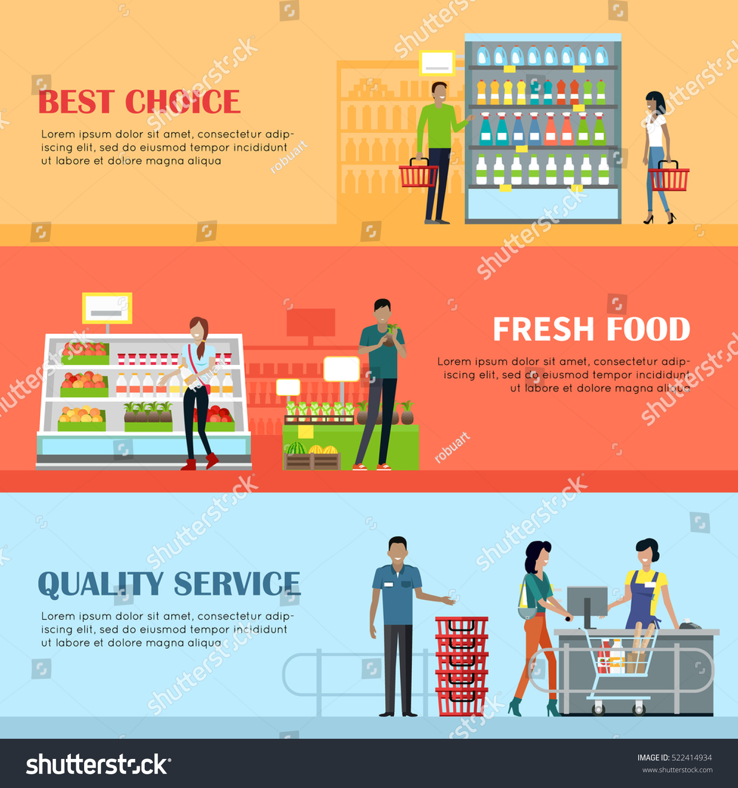 People In Supermarket Interior Design Best Choice Fresh Food Quality Service